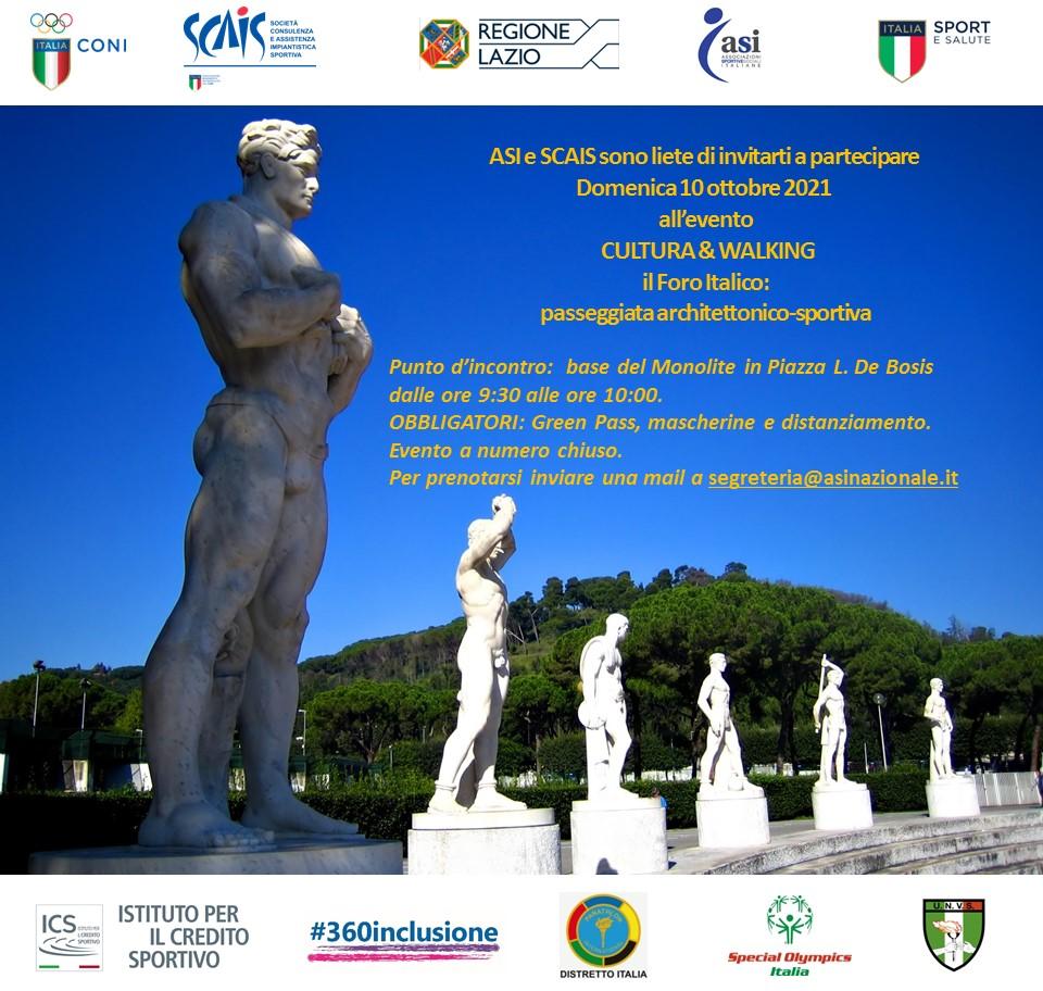 10 Ottobre 2021- CULTURA & WALKING        il Foro Italico – passeggiata architettonico- sportiva